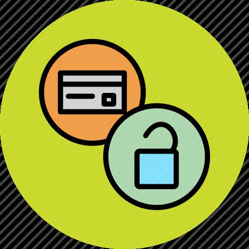 banking, card, credit, debit, funds, restore, unlock icon
