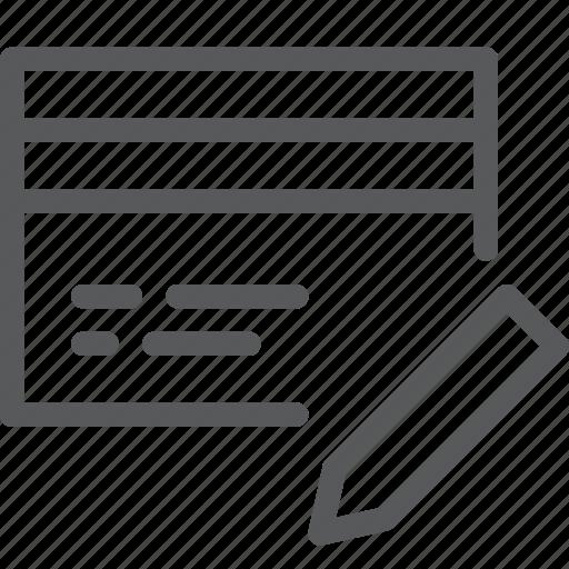 business, card, credit, debit, edit, money, online, payment icon