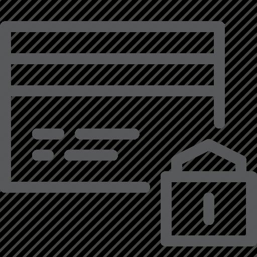 business, card, credit, debit, lock, money, online, payment icon