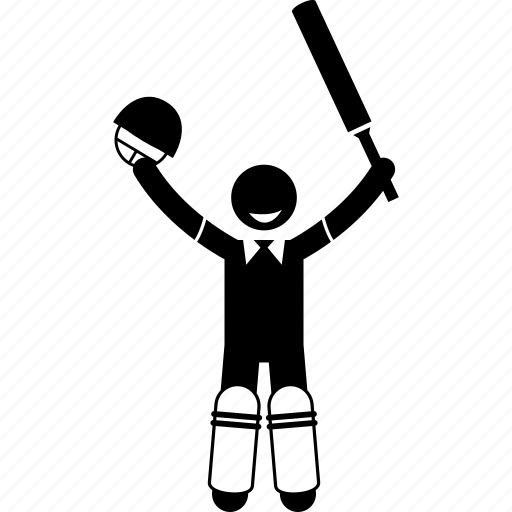 cricket, happy, player, success icon
