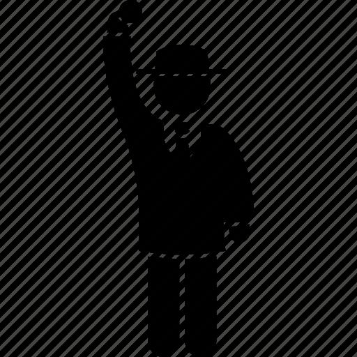 cricket, hand, new ball, referee, signal, umpire icon