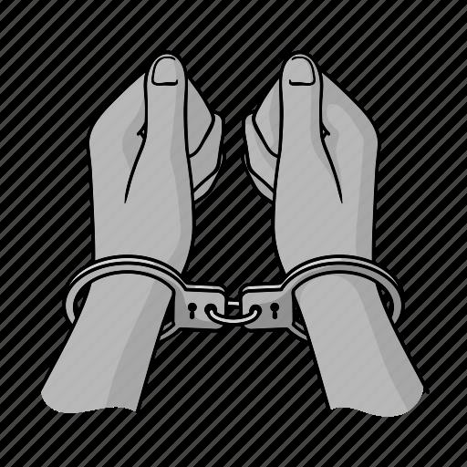 arrest, crime, criminal, detention, hand, handcuff icon