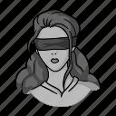 bandage, crime, eyes, girl, hostage, ransom, woman icon