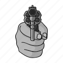 crime, gesture, gun, hand, shot, threat, weapon icon