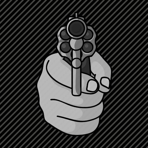 crime, gesture, gun, hand, shot, threat, weapon icon