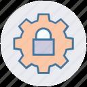secure, settings, lock, setup, cog, gear icon