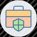 bag, bag secure, locked, shield, suit case icon