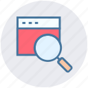 magnifier, search, security, view, web page icon