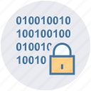 binary, code, digital, encryption, lock, security icon
