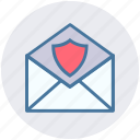 email secure, letter, open envelope, security, shield icon