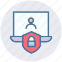 interface, laptop, password, person, security, shield icon