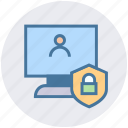 interface, lcd, password, person, security, shield icon