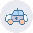 car, emergency, flashing, government, police car, transport icon