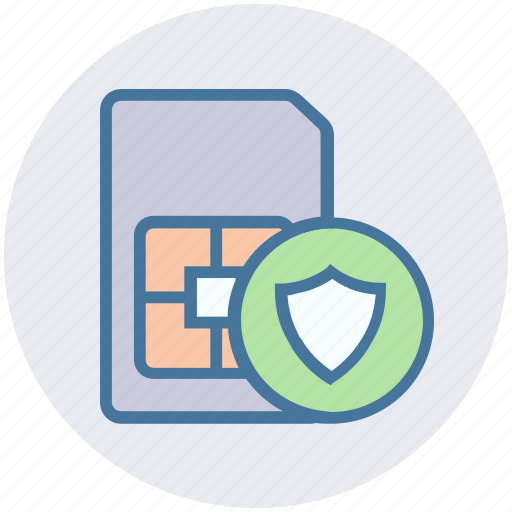 mobile card, sd card secure, security, shield, sim card icon