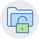 folder, folder secure, folder unlock, password, security, unlock icon
