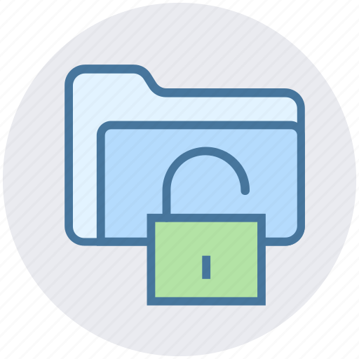 folder, folder secure, folder unlock, password, security, unlock icon