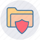folder, folder secure, folder shield, password, security, shield icon