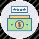 cash, dollar, money code, password, safe money