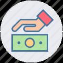 cash, dollar, hand, money, safe money, secure icon