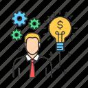 business, businessman, crowdfunding, founder, investor, man icon