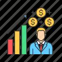 business, businessman, crowdfunding, graph, investor, man icon