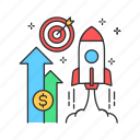business, startup, spaceship, rocket, launch icon