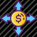 analysis, breakdown, budget, crowdfunding icon