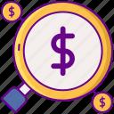analytics, dollar, magnifier, money