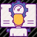 beta, gear, human, tester icon
