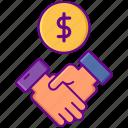 broker, dealer, dollar, handshake icon