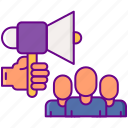 general, group, megaphone, solicitation