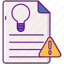 document, intellectual, light bulb, property icon