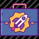 act, briefcase, jobs, rocket icon