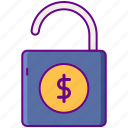 access, dollar, lock, release