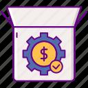 box, fulfillment, gear, project icon