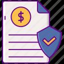 document, dollar, securities, shield