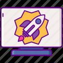 computer, launch, rocket, startup