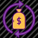 arrows, exchange, money bag, venture