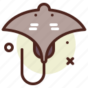 animal, aquatic, arthropods, ocean, sea, stingray icon