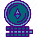 blockchain, coins, crypto, currency, ethereum, money icon