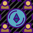 blockchain, crypto, currency, ethereum, money, web icon