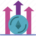 blockchain, chart, crypto, currency, ethereum, money icon