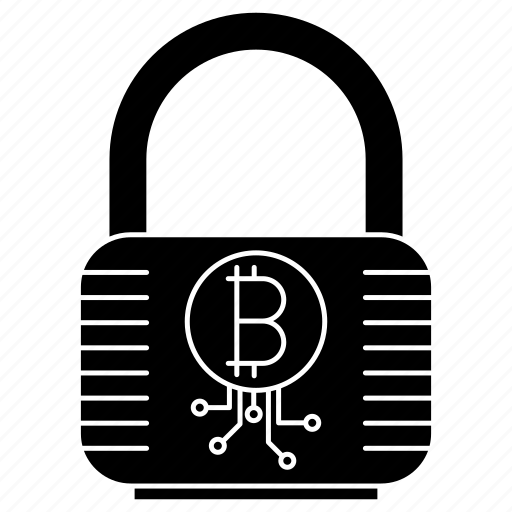 bitcoin, lock, protection, security icon