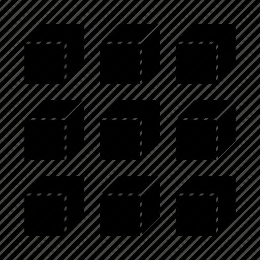 blockchain, box, matrix, packages icon