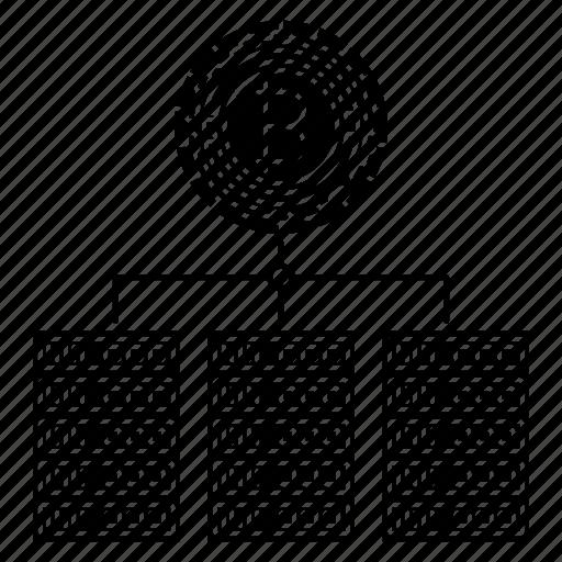 bitcoin, blockchain, digital, servers icon