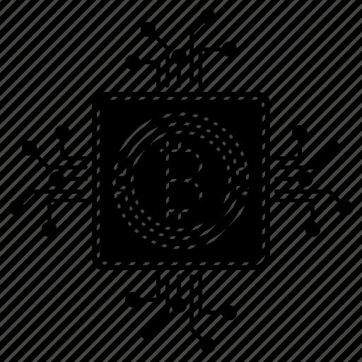 bitcoin, circuit, digital, mining, with icon