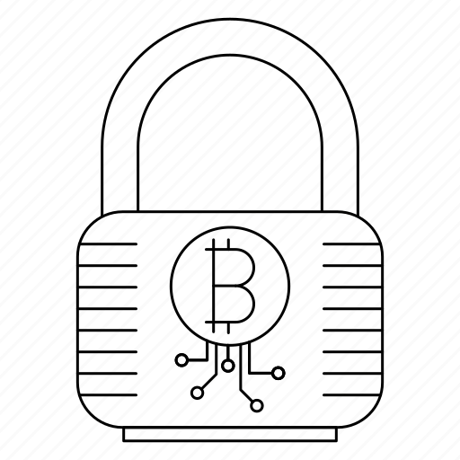 bitcoin, cryptocurrency, digital money, lock, mining, password icon
