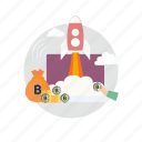 bitcoin, coin, cryptocurrencies, finance, money, rocket, startup icon