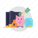 bitcoin, coin, cryptocurrencies, finance, gold, money, wallet icon