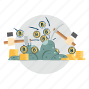 bitcoin, coin, cryptocurrencies, finance, gold, mining, money icon